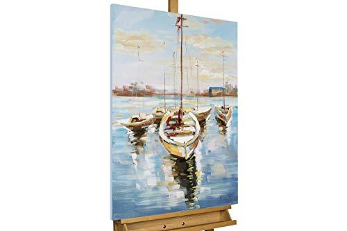 KunstLoft® Acryl Gemälde 'Hafenromantik' 60x90cm   original handgemalte Leinwand Bilder XXL   Deko Boot Blau Blau Gelb   Wandbild Acrylbild Moderne Kunst einteilig mit Rahmen - Boot Leinwand Kunst