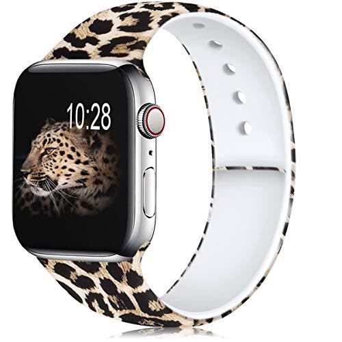 Zekapu Floreale Cinturino Compatibile per Apple Watch 38mm 42mm 40mm 44mm, Morbido Silicone Fadeless Modello Stampato Sostituzione...