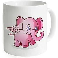 """okoukiu elefante rosa bianco mug–Tazza da tè personalizzato regalo per compleanno, Natale e nuovo year-3.7""""X 3.1"""", 11oz"""