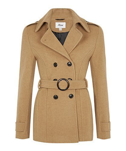 La Creme - Damen Winter Baumwolle & Kaschmir -mischung Jacke Damen Kurz Zweireihig Mantel Mit Gürtel - Kamel, UK 10/EU 36/US 8 (Mischung Creme Baumwolle)