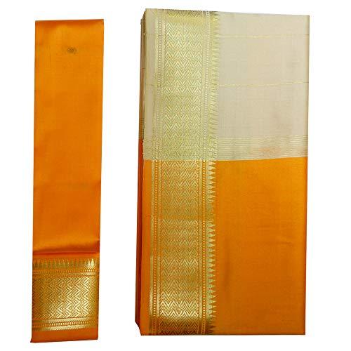 (indischerbasar.de Brokat Sari beige hellorange Goldbrokat Blusenstoff Indien Tracht Bindi Ohrhänger Wickelkleid Polyester)
