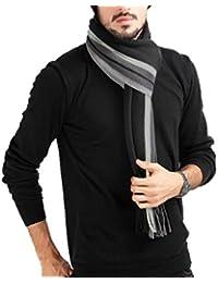 524cae5b4074 Écharpe Homme Stripes en Laine Acrylique Long Chaude Vogue en Automne Hiver  Souple Confortable Gris