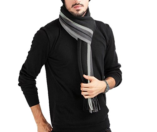 Herren Schal Schwarz Grau Winter Dicker Imitation Kaschmir Herrenschal Mit Fransen 180*30cm