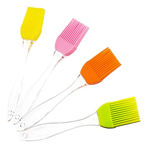 Silicone Basting Pastry Brushes, 6.9 Inch (Set of 4, Colorful), Heat Resistant, Perfect for BBQ, Grilling, Baking, Marinating Meat