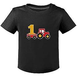 Anniversaire 1 Ans passionné, Fan de Tracteur T-Shirt Bébé Unisex 18M Noir