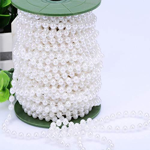 Xihui 30M 98Füße 5mm Künstliche Kunststoff Perle Perlen Roll Strang für Vorhang, Raumdekoration, romantische Perlen Girlande für Hochzeit, Party, Weihnachtsbaum, Mittelstücke Dekor (Weiß, 5mm) (Perlen-girlande Für Den Weihnachtsbaum)