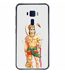 Fiobs Designer Back Case Cover for Asus Zenfone 3 ZE552KL (5 Inches) (Hanuman With Gada Hindu)
