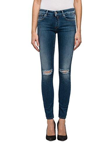 Replay Damen Skinny Jeans LUZ-WX689 .000.71B955R, Blau (Mid Blue/Destroyed 9), W27/L30 (Herstellergröße: 27)