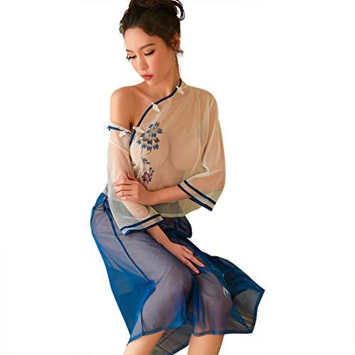 WHWH Sexy Dessous mesh perspektive Republik China Studenten tragen sexy Uniformen versuchung Leidenschaft Anzug Retro weiblich,Blue-OneSize