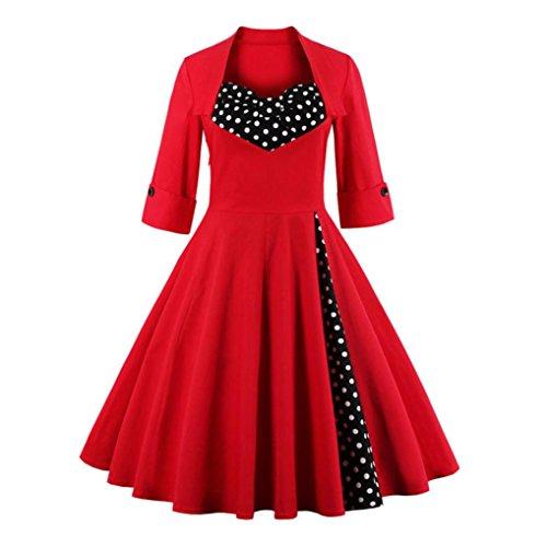 Kleid Damen Btruely Mädchen Print Langarm Kleid Frauen Abendgesellschaft Knielangen Kleid Bowknot Swing Kleid Vintage Rockabilly Casual Abendkleid (XL, Rot) (Kleider Weihnachten Damen)