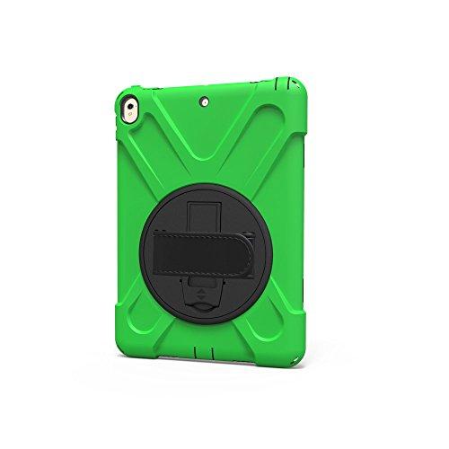 Tasche Hüllen Schutzhülle - case cover Um 360 Grad schwenkbarer Ständer Silikon Combo hart mit hand Halter band - Grün für Apple iPad Pro 10.5 (2017) (Ipad-halter Schwenkbarer)