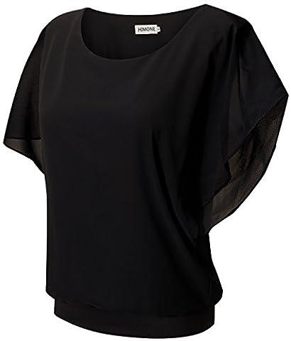 HIMONE Damen Sommer Casual Loose Fit Kurzarm Fledermaus Batwing T-Shirt Shirt Chiffon Top Bluse