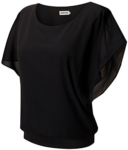 Casual Loose Fit Kurzarm Fledermaus Batwing T-Shirt Shirt Chiffon Top Bluse (40,Schwarz) ()