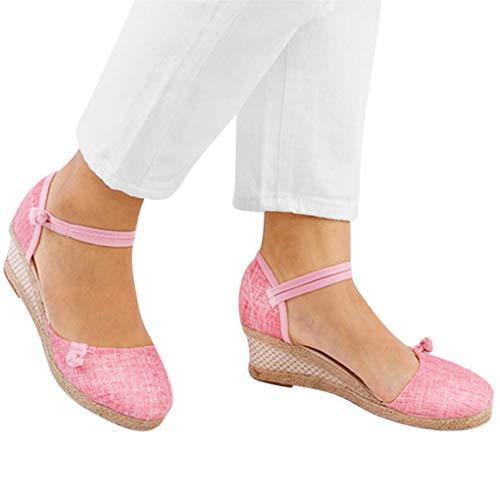 Sommerschuhe für Damen,Dorical Frauen Vintage Sandaletten,5.5 cm Keilsandaletten,Casual Plateausandalen,Klassische Espadrille-Absätze Damenschuhe,Rutschfest 34-40 EU Ausverkauf(Rosa,40CN=39EU)