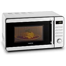 Klarstein Stella Prima microondas (grill de 1.000 W, 20 l de volumen, descongelación, exterior de acero inoxidable, seguro infantil ajustable, asa) - plateado