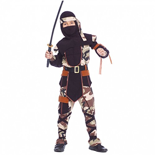 Kostüm Camouflage Ninja Sazuke Tarnanzug Camouflage Kinderfasching Krieger (10- 12 Jahre (Gr. 140- 152))