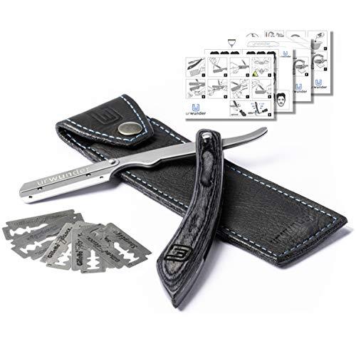 Präzises Premium-Rasiermesser + Hochwertiges Echtleder-Etui + Einfache Anleitungen + Scharfe Wechselklingen   urwunder Shavio   Perfekt rasieren (Silber matt/anthrazit)