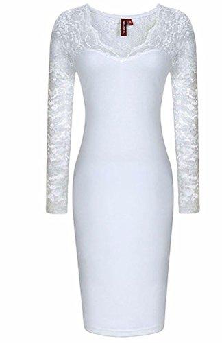 sunifsnow-robe-spcial-grossesse-moulante-uni-manches-longues-femme-blanc-xx-large