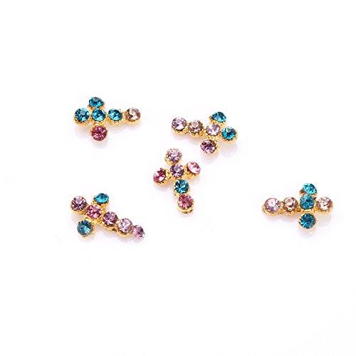5Pcs Croix Cristal Nail Art Décoré Ongle Rose Bleu Par RAIN QUEEN