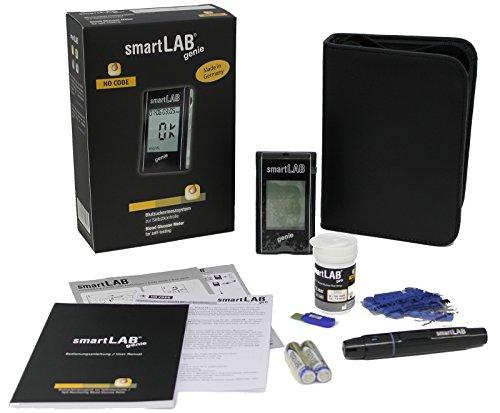 smartLAB genie Sistema de Monitoreo de Glucosa en Sangre como Juego de Arrancadores | Medidor de glucosa en sangre para la diabetes | Mediciones...