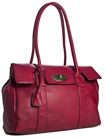 Big Handbag Shop Womens Faux Leather Designer Boutique Shoulder Bag (D1172 Red)