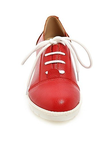 ZQ Scarpe Donna - Stringate - Casual - Punta arrotondata - Piatto - Finta pelle - Rosso / Bianco / Argento , red-us8 / eu39 / uk6 / cn39 , red-us8 / eu39 / uk6 / cn39 red-us7.5 / eu38 / uk5.5 / cn38
