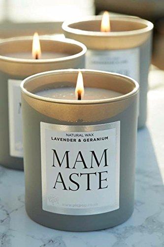 Picpop Mamaste vela – lavanda y geranio – Baby Shower o nuevo mamá regalo – cera natural aroma vela – 220 g