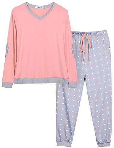 Hawiton Damen Baumwolle Pyjama Schlafanzug Lang Zweiteilige Nachtwäsche Hausanzug Sleepwear Langarm Rundhals Rosa L