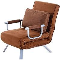 Homcom Fauteuil chauffeuse canapé-lit Convertible 1 Place déhoussable Grand Confort Coussin Pieds accoudoirs métal suède Marron
