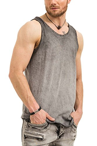 trueprodigy Casual Herren Marken Tank Top Einfarbig Basic, Oberteil Cool und Stylisch mit Rundhals (Ärmellos & Slim Fit), Muscle Shirt für Männer, Größe:S, Farben:Anthrazite