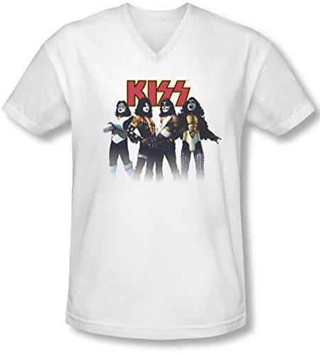 Kiss - Herren-Rückschritt-Haltung mit V-Ausschnitt T-Shirt, XX-Large, White