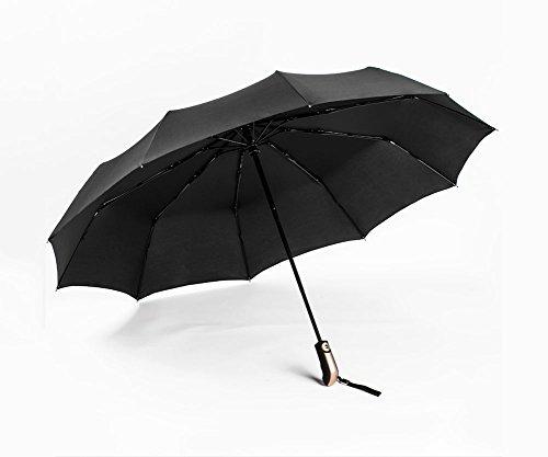 ZHDC® Tres veces paraguas, Totalmente automático Doble Tres veces Automático A prueba de viento Lluvia Día soleado Hombres Mujer Sombrilla sombrilla ( Color : Negro )