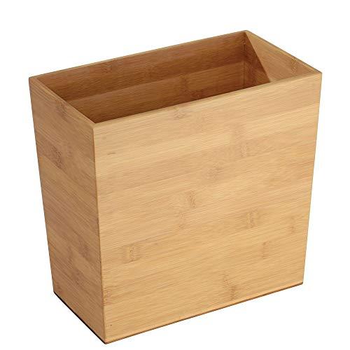 """mDesign Mülleimer """"Bambus"""", rechteckig - ideal als Papierkorb oder Abfalleimer - Robuster Kunststoff - Für Küche, Bad und Büro - modernes Design und hochwertige Materialien"""