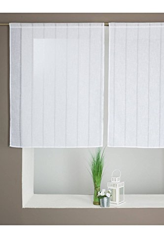Paire de Voilage Vitrage Effet Lin Rayé 90 x 120 cm Blanc