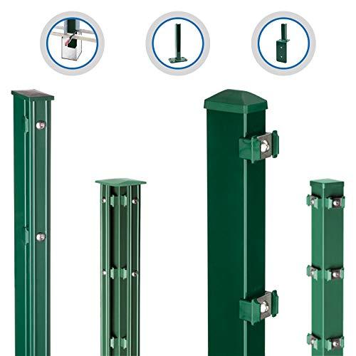 HORI® Pfosten für Doppelstabmattenzaun, grün, wahlweise mit Klemmhalter, Abdeckschiene, Aufschraubkonsole oder Aufschraubwinkel I für Zaunhöhe 123 cm