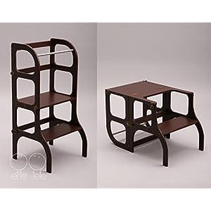 Lernturm / Tisch / Stuhl alles in einem Hocker / Montessori Learning tower, kitchen helper step stool - dark BROWN color