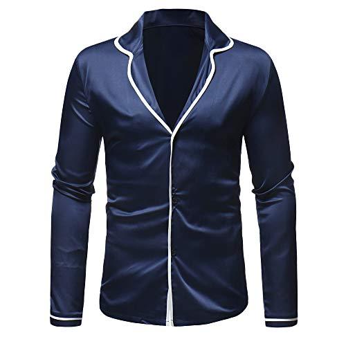 JackRuler Herren Lässige Mode Satin Anzugkragen Langarm Shirt Pyjama Top Hemd Anzug Bluse- Oben -