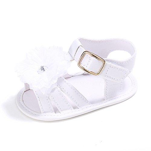 Estamico,Bébé fleur d'été sandales pour fille Blanc pur
