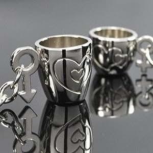 """C.S. Keyrings - CS1047 - Schlüsselanhänger Paar """"Kaffetassen 'Love You' für Sie & Ihn"""" aus Metall inkl. Geschenkbox - 2 Anhänger im Set"""