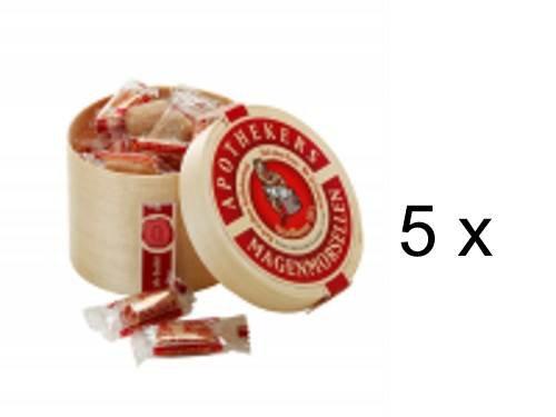 Apothekers Magenmorsellen 5er Sparset (5x100g). Ein altertümliches Apotheken-Konfekt mit vielen speziellen Gewürzen. In Spanholzschachtel verpackt. Schmecken gut, tun gut.