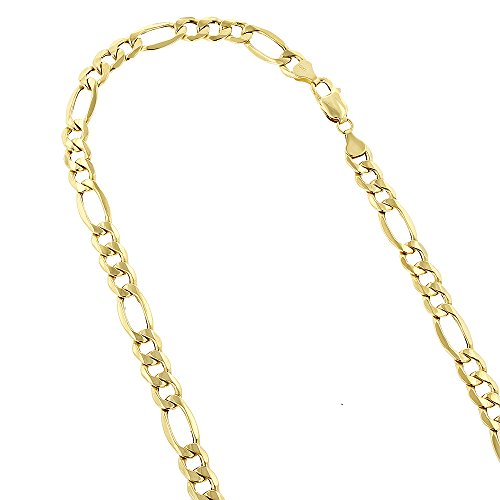 10k-24-yellow-gold-65mm-diamond-cut-figaro-chain-lite-link-necklace-with-lobster-clasp
