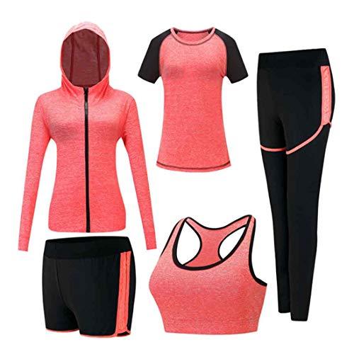 Inlefen Damen Trainingsanzug-Sets Sportanzug-Set weich und bequem Schnelltrocknend Jogging-Trainings-Trainingsanzug Damen Sportbekleidung-Sets Yoga-Bekleidung 5-teiliges Set Orange XL