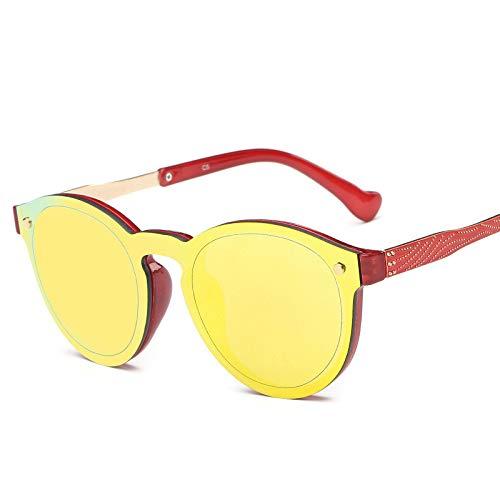 LKVNHP Neue Qualitäts -Rose Gold Polarisierte Sonnenbrille Männer Frauen Unisex -Sonnenbrillen Mann Damen -Runde Mirrored Shades Fashion Uv400Yellow