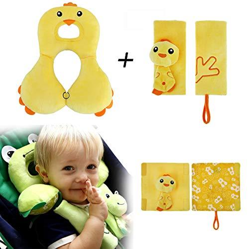 Baby-Kopf-Support und Sicherheits-Sicherheitsgurt-Abdeckung, Baby-Spielraum-Kissen, Schulterpolster, Baby Travel Set, Kinderwagenzubehör (Yellow Chicken) Chicken-set