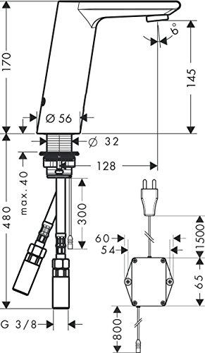 Hansgrohe – Infrarot Waschtisch-Sensorarmatur, Temperaturregler, mit Netzanschluss, Chrom, Serie Metris S - 2
