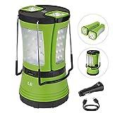 LE Lanterna LED 10W 600lm Ricaricabile Impermeabile, Lampada + 2 Mini Torce Staccabili e Bussola Incorporata per Campeggio Escursioni Attività all'Aperto