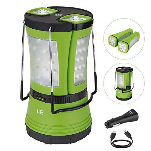 LE Lighting EVER Lanterne LED, avec 2 Mini Lampe Torche Détachable, Lampe Portable Rechargeable 600lm pour Camping Bricolage Randonnée Chasse Pêche Garage Tente Cave