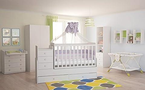 Polini Kids Babyzimmer Kinderzimmer komplett Set weiß 4-teilig mit Babybett/Kinderbett/Juniorbett,