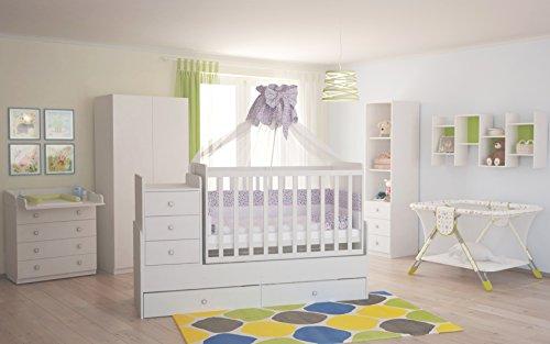 Polini Kids Babyzimmer Kinderzimmer komplett Set weiß 4 teilig mit Babybett/Kinderbett/Juniorbett, Wickelkommode, Kinderkleiderschrank, Standregal