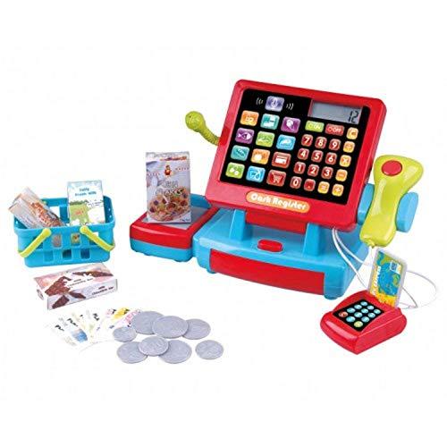 Kaufladen Set Geldkassette Kasse Kinderkasse Kaufladen Kinder mit Kasse Scanner Spiel Spielzeug Zubehör für Kaufladen Kaufmannsladen Supermarkt für Kinder Registrierkasse Kartenlesegerät Spielgeld